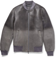 Neil Barrett Dégradé Distressed Leather Bomber Jacket