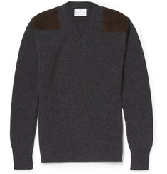 Kingsman Geelong Wool Military Sweater with Suede Shoulder Patches