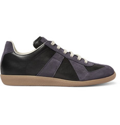 Maison Margiela Suede and Leather-Panelled Sneakers