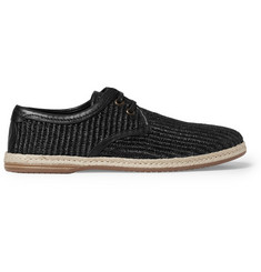 Dolce & Gabbana Leather-Lined Woven-Straw Espadrilles