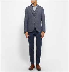 Boglioli Blue Woven-Cotton and Linen-Blend Blazer