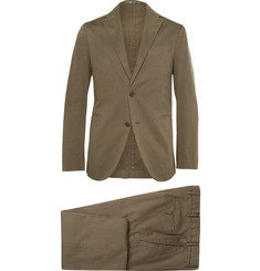 Boglioli Khaki Cotton and Linen-Blend Suit