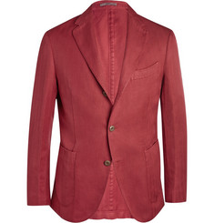 Boglioli Slim-Fit Unstructured Cotton and Linen-Blend Herringbone Blazer