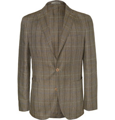 Boglioli Dover Slim-Fit Unstructured Checked Silk and Linen-Blend Blazer