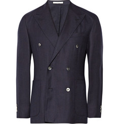 Boglioli Double-Breasted Hopsack Wool Blazer