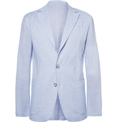 Faconnable Blue Stretch Cotton and Silk-Blend Seersucker Blazer