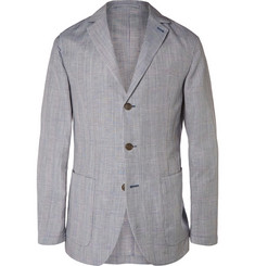 Faconnable Blue Prince of Wales Check Mohair, Linen and Silk-Blend Blazer