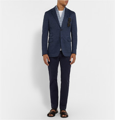 Faconnable Navy Cotton and Linen-Blend Blazer