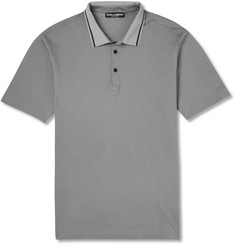 Dolce & Gabbana Contrast-Collar Cotton-Piqué Polo Shirt