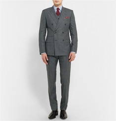 Dolce & Gabbana Grey Slim-Fit Three-Piece Prince of Wales Check Wool Suit