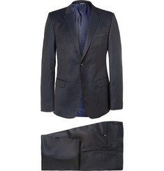 Dolce & Gabbana Blue Slim-Fit Pin-Dot Wool Three-Piece Suit
