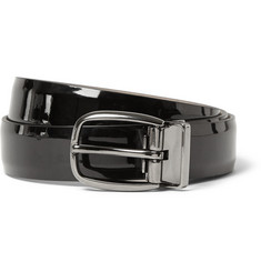 Dolce & Gabbana Black 3cm Glossed-Leather Belt