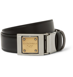 Dolce & Gabbana Reversible 3cm Textured and Smooth Leather Belt