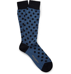 Dolce & Gabbana Polka-Dot Cotton-Blend Socks