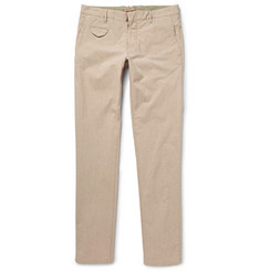 Incotex Slim-Fit Striped Slubbed Cotton and Silk-Blend Trousers
