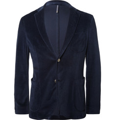 Incotex Blue Slim-Fit Velvet Blazer