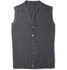 Incotex Garment-Dyed Knitted Cotton Waistcoat