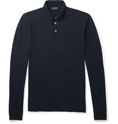 Incotex Cotton Long-Sleeved Polo Shirt