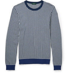 Incotex Houndstooth Jacquard-Knit Cotton Sweater