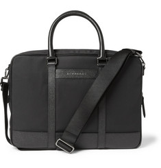 Burberry Shoes & Accessories Cross-Grain Leather and Nylon-Canvas Briefcase