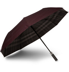 Burberry Shoes & Accessories Check-Lined Automatic Umbrella