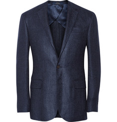 Polo Ralph Lauren Navy Morgan Flax and Silk-Blend Herringbone Blazer