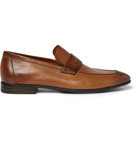 Gianni Leather Penny Loafers - TanBerluti Ja98PsY