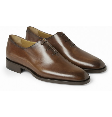 Blake Polished-leather Oxford Shoes - Brown