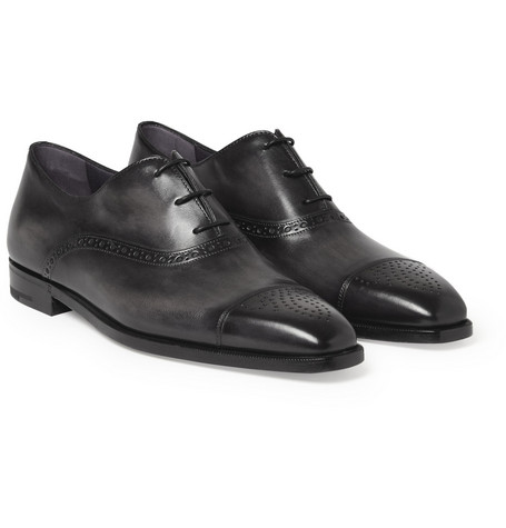 Grigio Polished-leather Oxford Brogues - Black