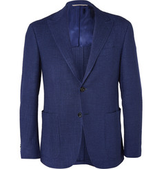 Canali Navy Kai Slim-Fit Wool, Linen and Silk-Blend Blazer