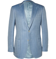 Canali Blue Wool, Linen and Silk-Blend Blazer