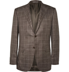 Canali Brown Checked Wool and Silk-Blend Blazer
