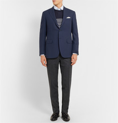 Canali Blue Water-Resistant Wool Travel Blazer