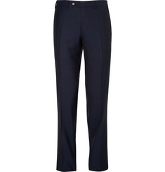 Canali Blue Water-Resistant Supers 140s Wool Trousers