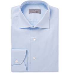 Canali Blue Slim-Fit Spread Collar Cotton Shirt
