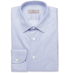 Canali Blue Slim-Fit Striped Cotton Shirt