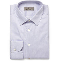 Canali Lilac Slim-Fit Striped Cotton Shirt