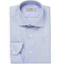Canali Blue Checked Cotton Shirt