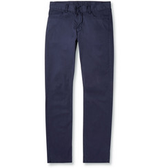 Canali Washed Stretch-Cotton Trousers