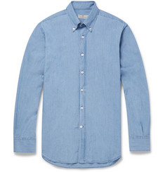 Canali Button-Down Collar Cotton-Chambray Shirt
