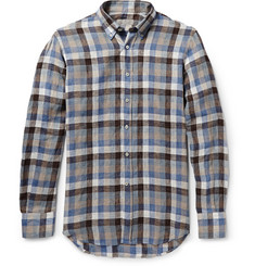 Canali Checked Button-Down Collar Linen Shirt