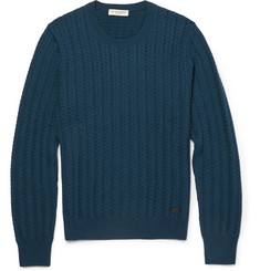 Burberry London Slim-Fit Cable-Knit Wool and Cashmere-Blend Sweater