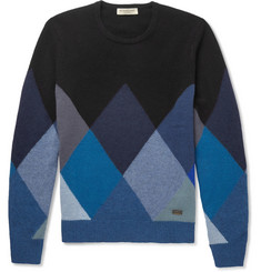 Burberry London Patterned Cashmere Crew Neck Sweater