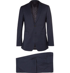 Burberry London Navy Slim-Fit Checked Wool Suit