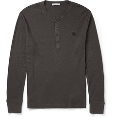 Burberry Brit Slim-Fit Ribbed Cotton and Wool-Blend Henley T-Shirt