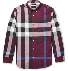 Burberry Brit Slim-Fit Button-Down Collar Checked Cotton Shirt