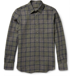 Berluti Checked Washed-Linen Shirt