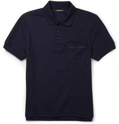 Berluti Leather-Trimmed Cotton-Piqué Polo Shirt