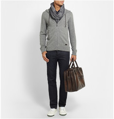 Berluti Leather-Trimmed Cashmere Hoodie