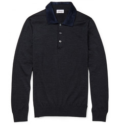 Brioni Suede-Collar Wool Polo Shirt